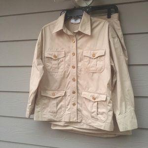 Chanel beige 2 piece cotton skirt suit 40